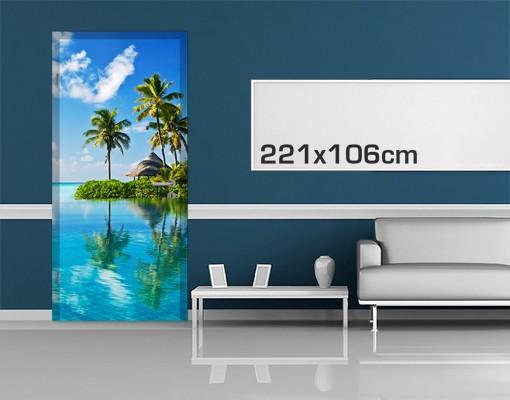 Produktfoto Türtapete Karibik - Tropisches Paradies - selbstklebend