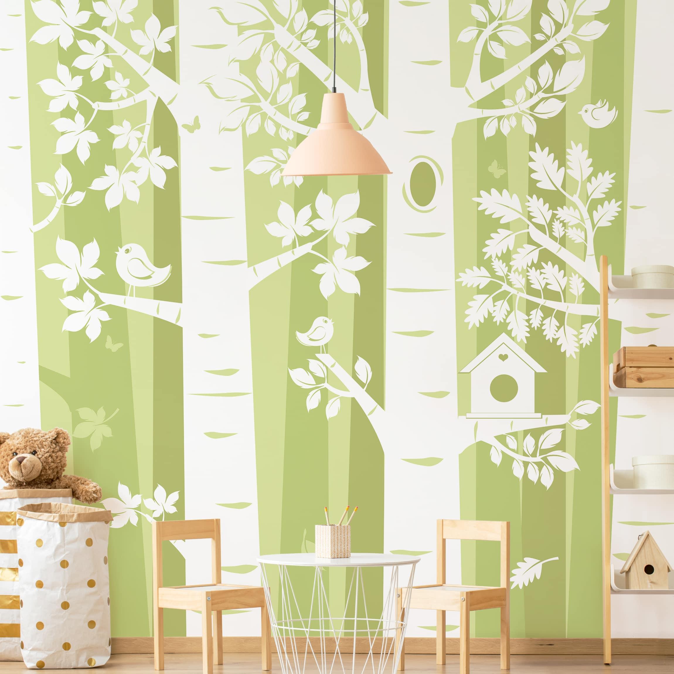 Selbstklebende Tapete Kinderzimmer - Bäume im Wald Grün - Fototapete Quadrat