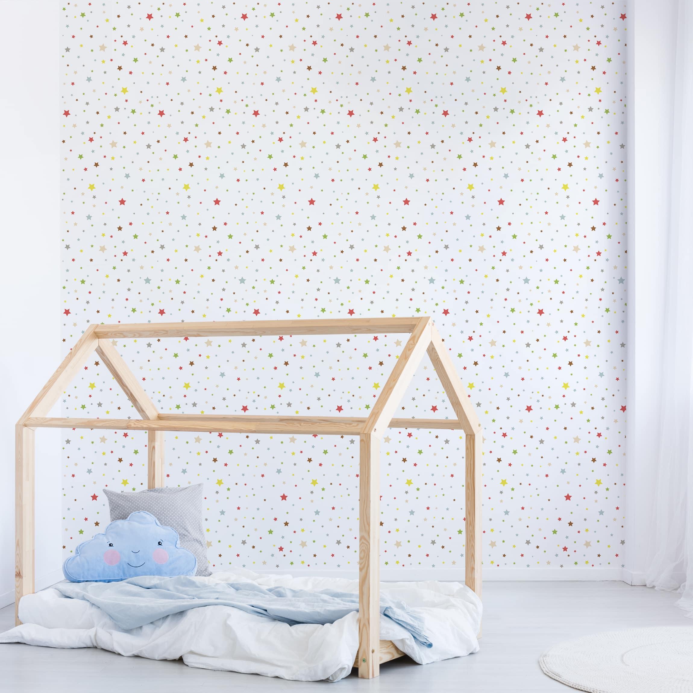 Selbstklebende Tapete Kinderzimmer - No.YK34 Bunte Sterne - Fototapete  Quadrat