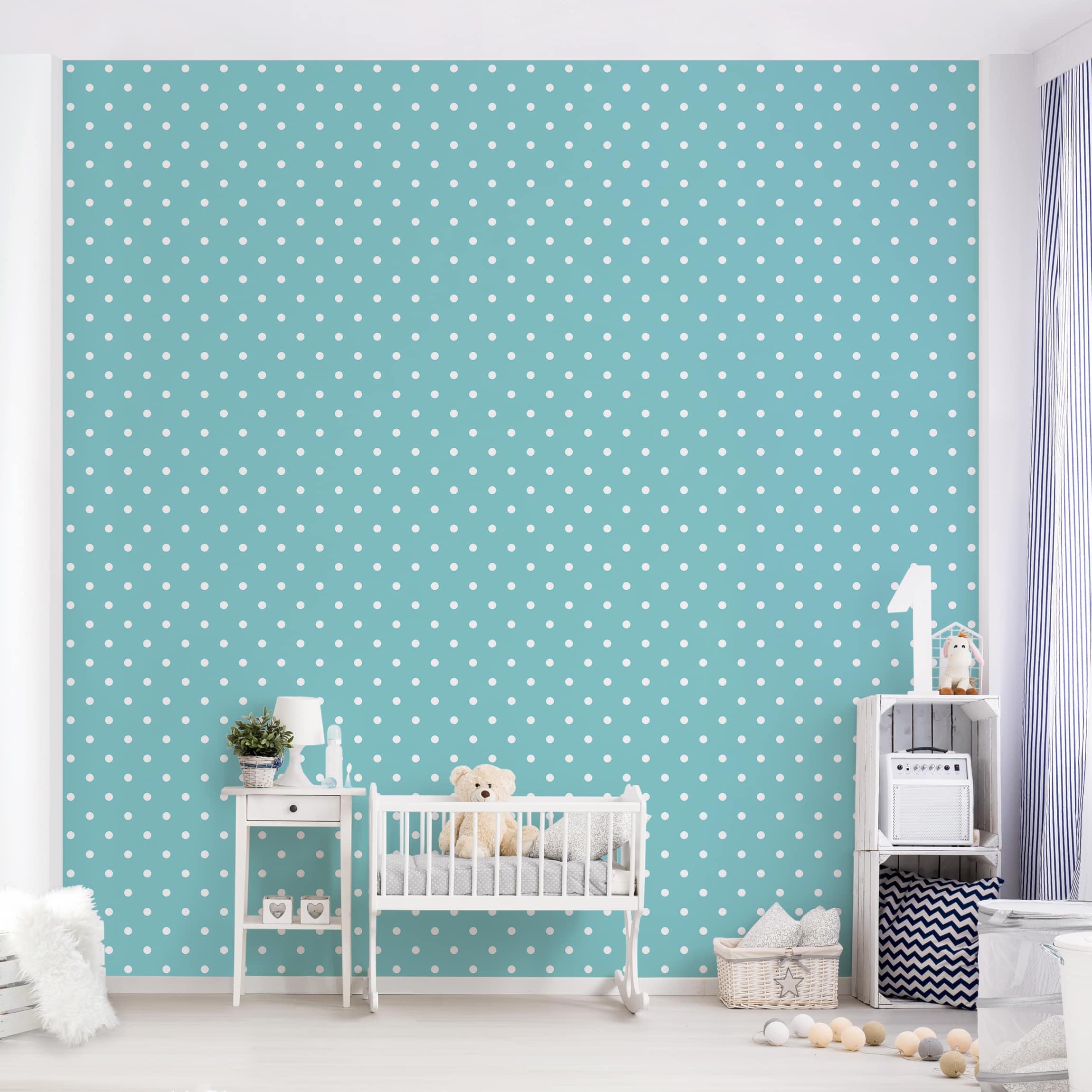 Selbstklebende Tapete Kinderzimmer No Yk55 Weisse Punkte Auf Turkis Fototapete Quadrat
