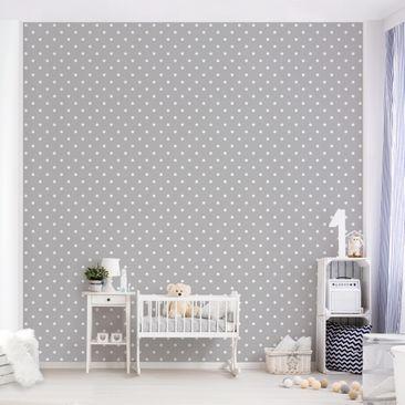 Produktfoto Selbstklebende Tapete Kinderzimmer - Weiße Punkte auf Grau - Fototapete Quadrat