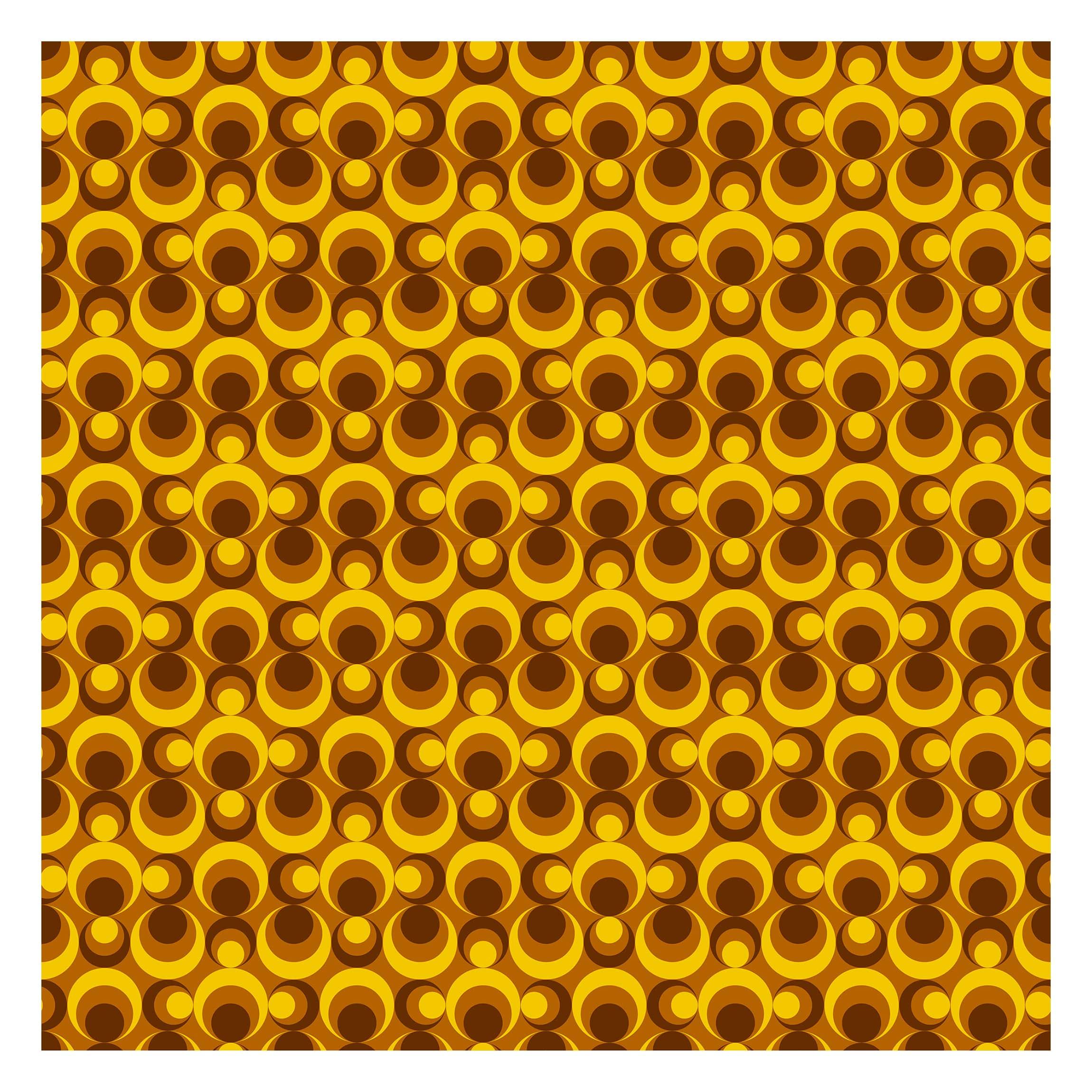 Tapete selbstklebend - 70er Jahre Tapete Kreisdesign - Fototapete Quadrat