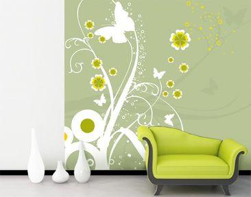Produktfoto Blumen Mustertapete selbstklebend - Tanzende Schmetterlinge