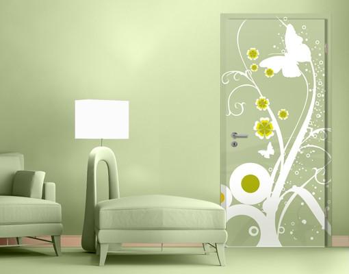 Produktfoto Türtapete Blumen selbstklebend -  Tanzende Schmetterlinge