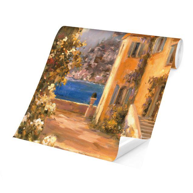 Produktfoto Tapete selbstklebend - Italienische Landschaft - Blumenbogen - Fototapete Quadrat