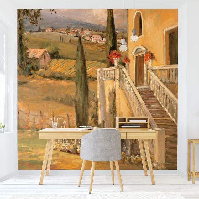 Produktfoto Tapete selbstklebend - Italienische Landschaft - Haustreppe - Fototapete Quadrat