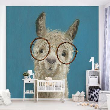 Produktfoto Tapete selbstklebend - Lama mit Brille I - Fototapete Quadrat