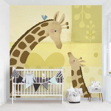 Produktfoto Tapete selbstklebend - Mama und ich - Giraffen - Fototapete Quadrat