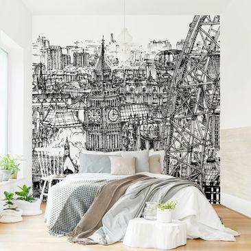 Produktfoto Tapete selbstklebend - Stadtstudie - London Eye - Fototapete Quadrat