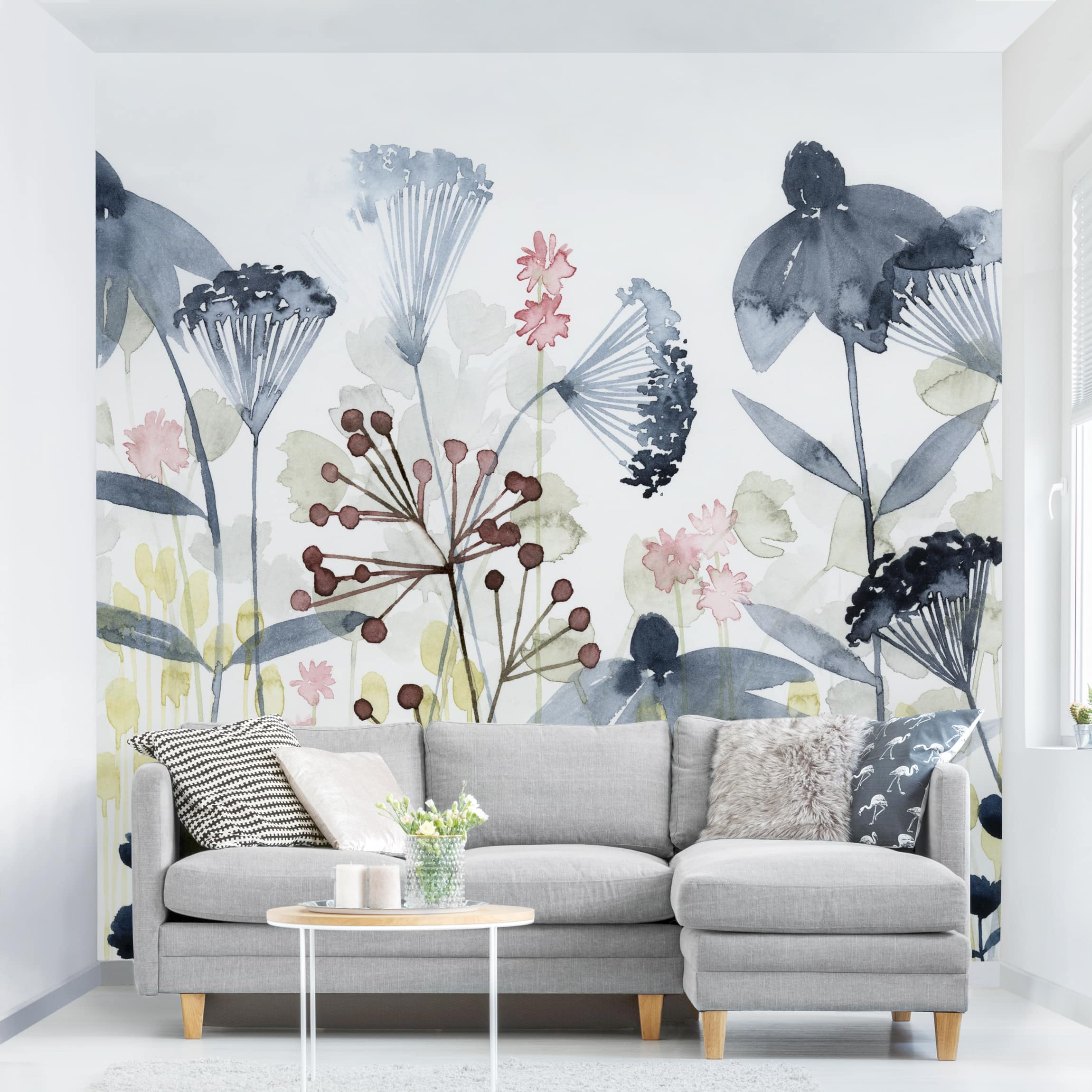 Relativ Tapete selbstklebend - Wildblumen Aquarell I - Fototapete Quadrat CX35