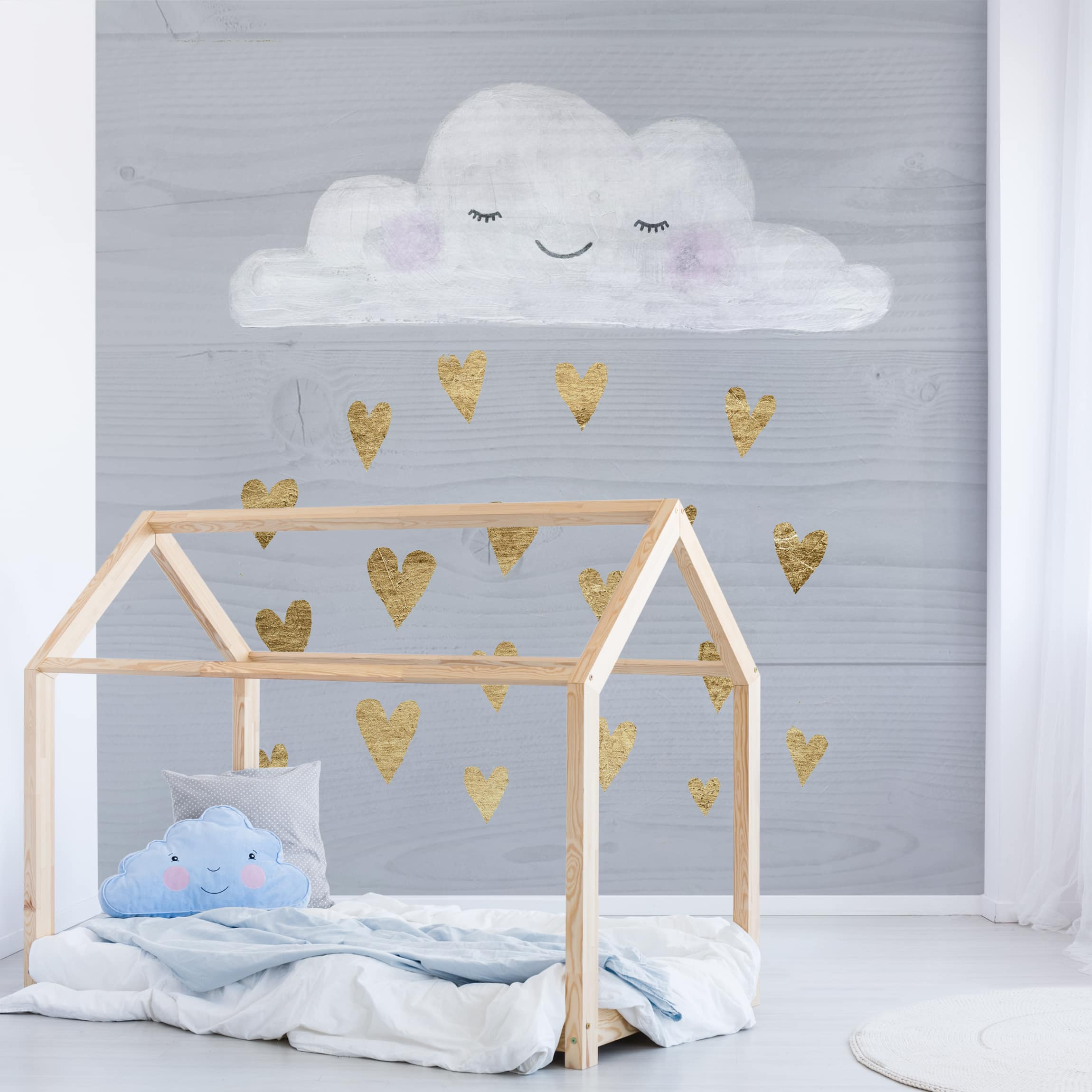 Selbstklebende Tapete Kinderzimmer Wolke Mit Goldenen Herzen Fototapete Quadrat