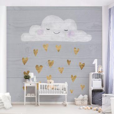 Immagine del prodotto Carta da parati adesiva bambini - Nube con cuori dorati - Formato quadrato