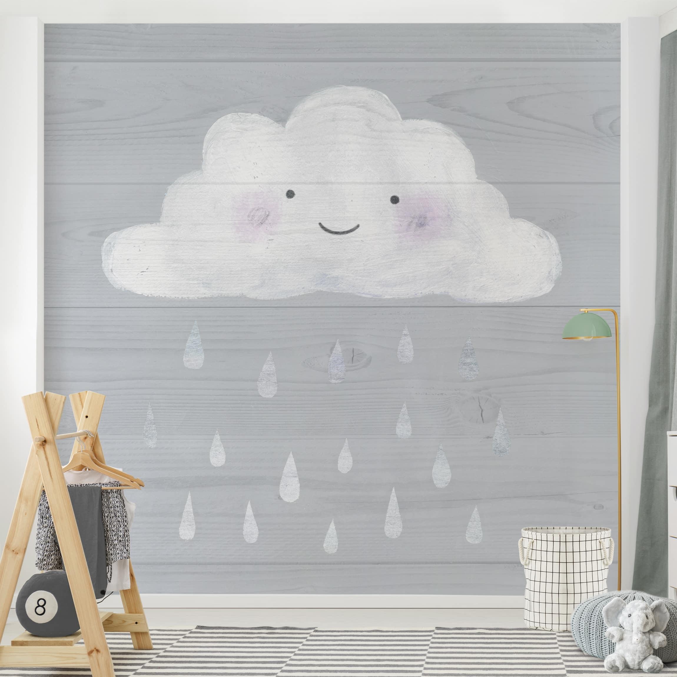 Selbstklebende Tapete Kinderzimmer - Wolke mit silbernen Regentropfen -  Fototapete Quadrat