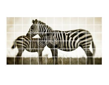 Product picture Tile Mural Zebra couple