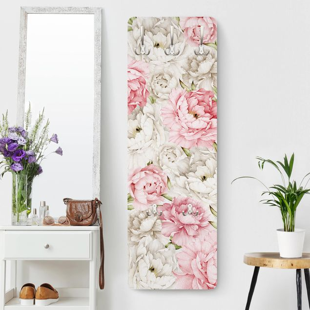 Produktfoto Garderobe - Pfingstrosen Rosé Weiß