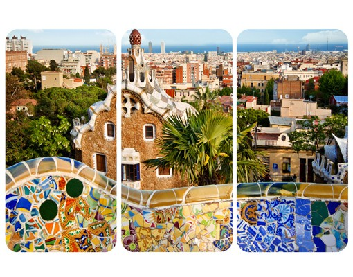 Produktfoto Selbstklebendes Wandbild Barcelona Triptychon I