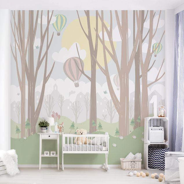 Produktfoto Selbstklebende Tapete Kinderzimmer - Sonne mit Bäumen und Heißluftballons - Fototapete Quadrat
