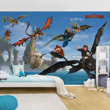 Produktfoto Selbstklebende Tapete Kinderzimmer - Dragons - Jagd nach dem Schaf - Fototapete Querformat