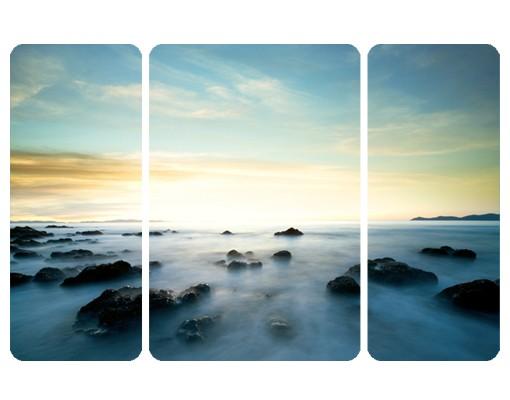 Produktfoto Selbstklebendes Wandbild Sonnenuntergang über dem Ozean Triptychon II