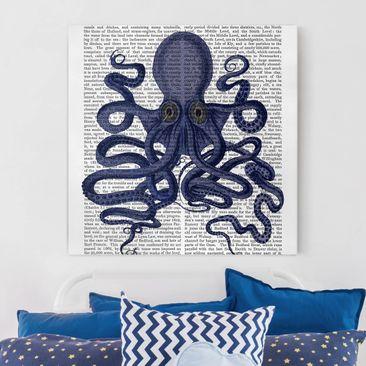 Produktfoto Leinwandbild - Tierlektüre - Oktopus - Quadrat 1.1 vergrößerte Ansicht in Wohnambiente Artikelnummer 240942-XWA