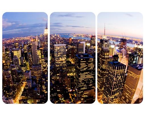 selbstklebendes wandbild new york skyline bei nacht triptychon i. Black Bedroom Furniture Sets. Home Design Ideas