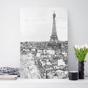 Produktfoto Leinwandbild - Stadtstudie - Paris - Hochformat 3-2 vergrößerte Ansicht in Wohnambiente Artikelnummer 241290-XWA
