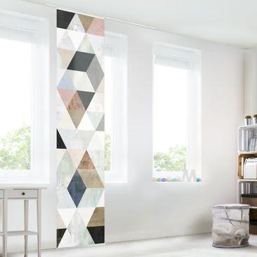 Immagine del prodotto Tenda scorrevole set - Acquerello mosaico triangoli con I - Pannello