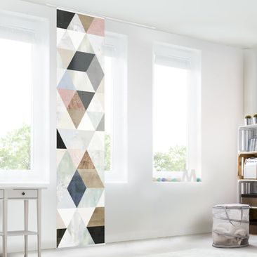 Produktfoto Schiebegardinen Set - Aquarell-Mosaik mit Dreiecken I - Flächenvorhang