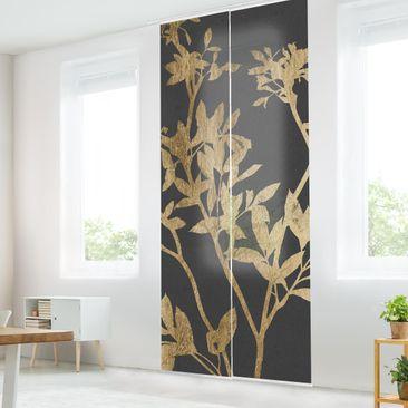 Produktfoto Schiebegardinen Set - Goldene Blätter auf Mokka II - 2 Flächenvorhänge