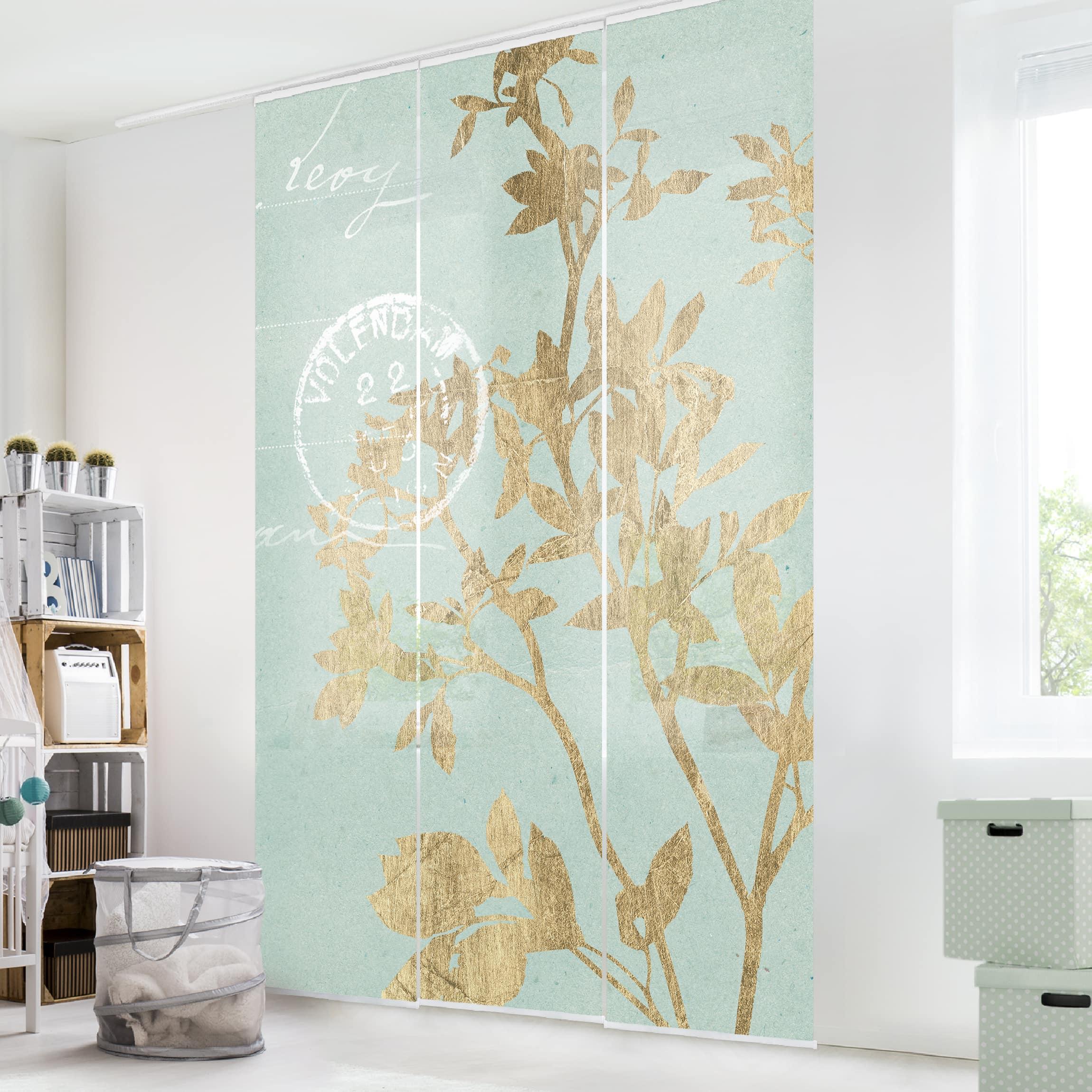 Schiebegardinen Set - Goldene Blätter auf Turquoise II - 3 Flächenvorhänge