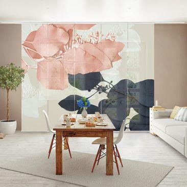 Produktfoto Schiebegardinen Set - Blätter Indigo & Rouge II - 5 Flächenvorhänge