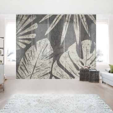 Produktfoto Schiebegardinen Set - Palmenblätter vor Dunkelgrau - 5 Flächenvorhänge