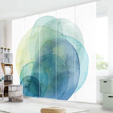 Produktfoto Schiebegardinen Set - Urknall - grün - 5 Flächenvorhänge