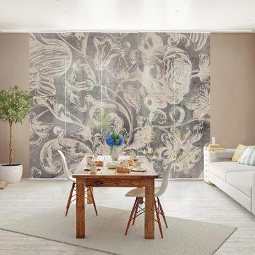 Immagine del prodotto Tende scorrevoli set - Ornamento floreale I - 5 Pannelli