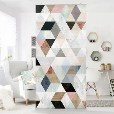 Immagine del prodotto Tenda a pannello - Acquerello mosaico triangoli con I - 250x120cm