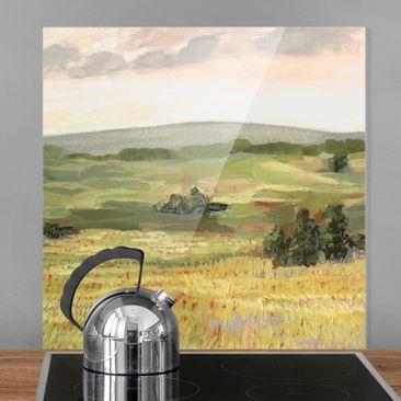 Produktfoto Spritzschutz Glas - Wiese am Morgen I - Quadrat 1:1