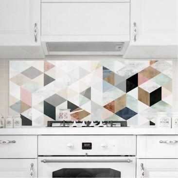 Immagine del prodotto Paraschizzi in vetro - Mosaico con triangoli in acquerello I - Panoramico