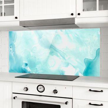 Produktfoto Spritzschutz Glas - Emulsion in weiß und türkis I - Panorama