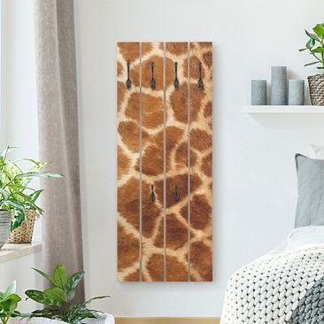 Produktfoto Wandgarderobe Holz - Giraffenfell - Haken schwarz Hochformat