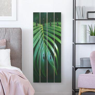 Produktfoto Wandgarderobe Holz - Palmenwedel - Haken schwarz Hochformat