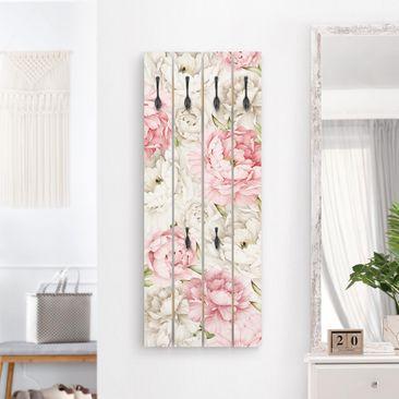 Produktfoto Wandgarderobe Holz - Pfingstrosen Rosé Weiß - Haken schwarz Hochformat