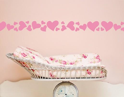 Wandtattoo Babyzimmer Bordüre No.UL670 Herzen