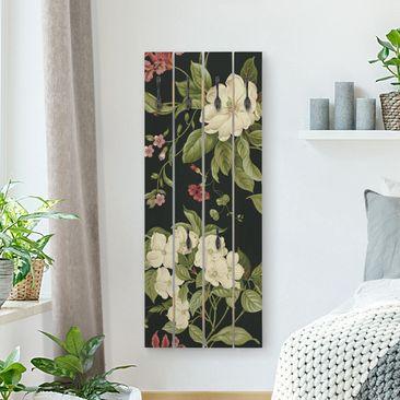 Produktfoto Wandgarderobe Holz - Gartenblumen auf Schwarz I - Haken schwarz Hochformat