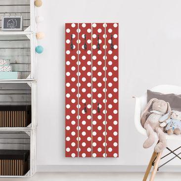 Produktfoto Wandgarderobe Holz - No.DS92 Punktdesign Girly rot - Haken schwarz Hochformat
