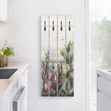 Produktfoto Wandgarderobe Holz - Tulpen-Rose Shabby Holzoptik - Haken schwarz Hochformat