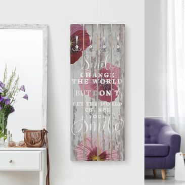 Produktfoto Wandgarderobe Holz - Shabby Orchidee - Smile - Haken chrom Hochformat