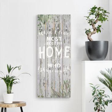 Produktfoto Wandgarderobe Holz - Shabby Tropical - Home is - Haken chrom Hochformat