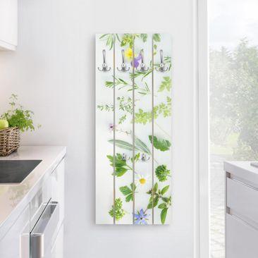 Produktfoto Wandgarderobe Holz - Kräuter und Blüten - Haken chrom Hochformat