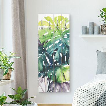Produktfoto Wandgarderobe Holz - Exotisches Blattwerk - Monstera - Haken chrom Hochformat