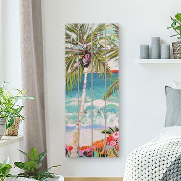 Produktfoto Wandgarderobe Holz - Palme mit pinken Blumen I - Haken chrom Hochformat